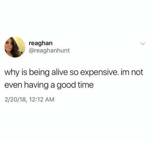 Alive, Dank, and Good: reaghan  , @reaghanhunt  why is being alive so expensive. im not  even having a good time  2/20/18, 12:12 AM