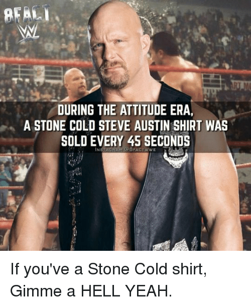 cold-steve-austin: REAL  DURING THE ATTITUDE ERA,  A STONE COLD STEVE AUSTIN SHIRT WAS  SOLD EVERY 45 SECONDS If you've a Stone Cold shirt, Gimme a HELL YEAH.