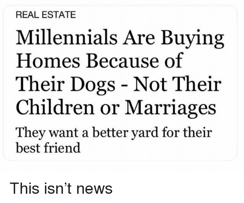 Best Friend, Children, and Dogs: REAL ESTATE  Millennials Are Buying  Homes Because of  Their Dogs - Not Their  Children or Marriages  They want a better yard for their  best friend This isn't news