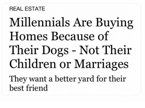 Best Friend, Children, and Dogs: REAL ESTATE  Millennials Are Buying  Homes Because of  Their Dogs - Not Their  Children or Marriages  They want a better yard for their  best friend