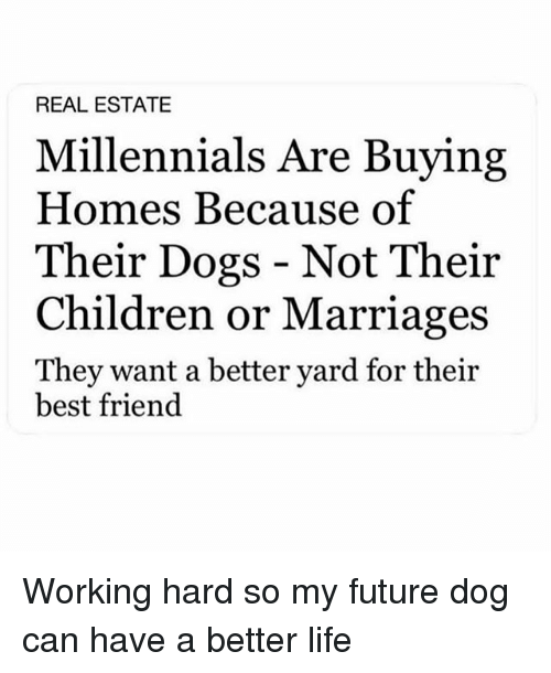 Best Friend, Children, and Dogs: REAL ESTATE  Millennials Are Buying  Homes Because of  Their Dogs - Not Their  Children or Marriages  They want a better yard for their  best friend Working hard so my future dog can have a better life