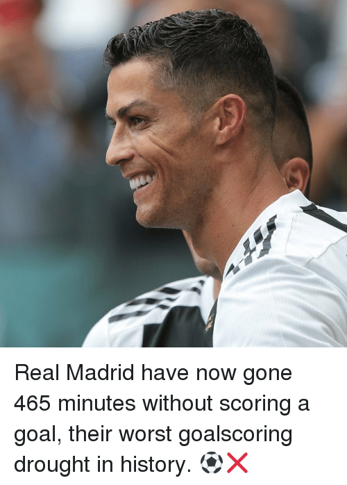 Memes, Real Madrid, and Goal: Real Madrid have now gone 465 minutes without scoring a goal, their worst goalscoring drought in history. ⚽❌