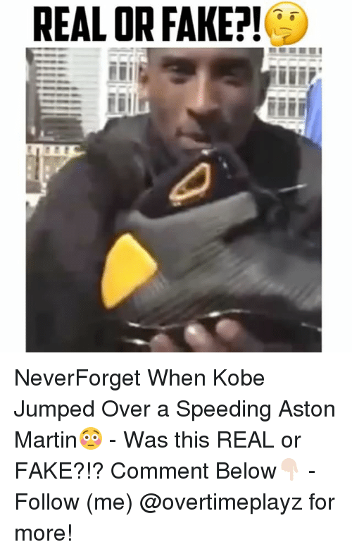 Aston Martin: REAL OR FAKE?! NeverForget When Kobe Jumped Over a Speeding Aston Martin😳 - Was this REAL or FAKE?!? Comment Below👇🏻 - Follow (me) @overtimeplayz for more!