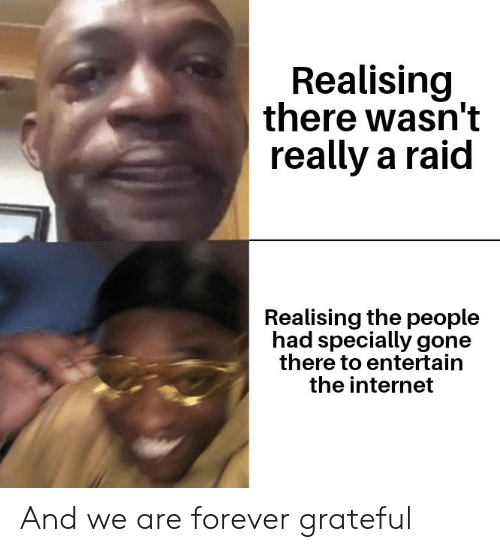 Internet, Forever, and Raid: Realising  there wasn't  really a raid  Realising the people  had specially gone  there to entertain  the internet And we are forever grateful