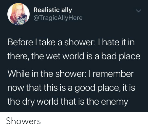 Bad, Shower, and Ally: Realistic ally  @TragicAllyHere  Before I take a shower: I hate it in  there, the wet world is a bad place  While in the shower: I remember  now that this is a good place, it is  the dry world that is the enemy Showers