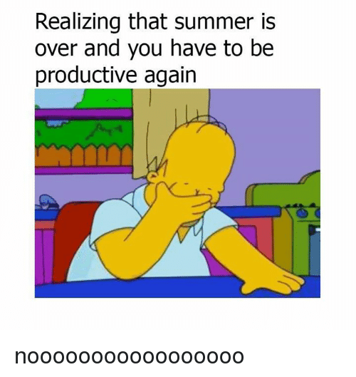 Dank, Summer, and 🤖: Realizing that summer is  over and you have to be  productive again nooooooooooooooooo