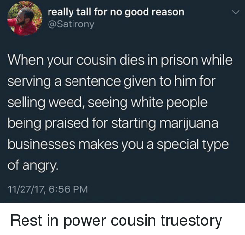 Memes, Weed, and White People: really tall for no good reason  @Satirony  When your cousin dies in prison while  serving a sentence given to him for  selling weed, seeing white people  being praised for starting marijuana  businesses makes you a special type  of angry.  11/27/17, 6:56 PM Rest in power cousin truestory