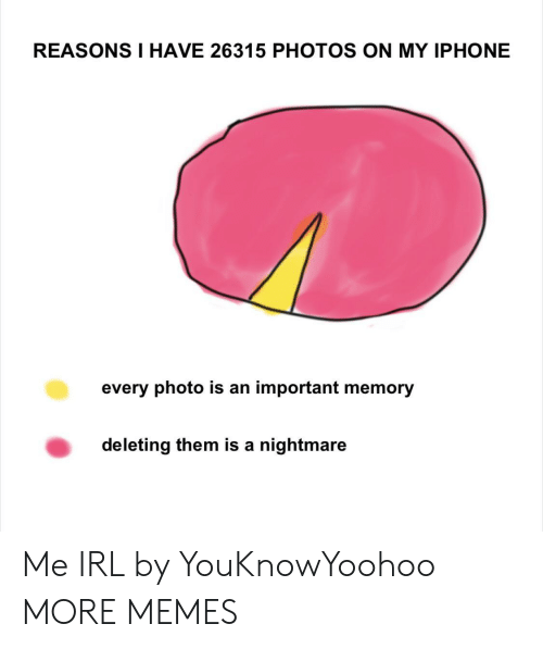 Deleting: REASONS I HAVE 26315 PHOTOS ON MY IPHONE  every photo is an important memory  deleting them is a nightmare Me IRL by YouKnowYoohoo MORE MEMES