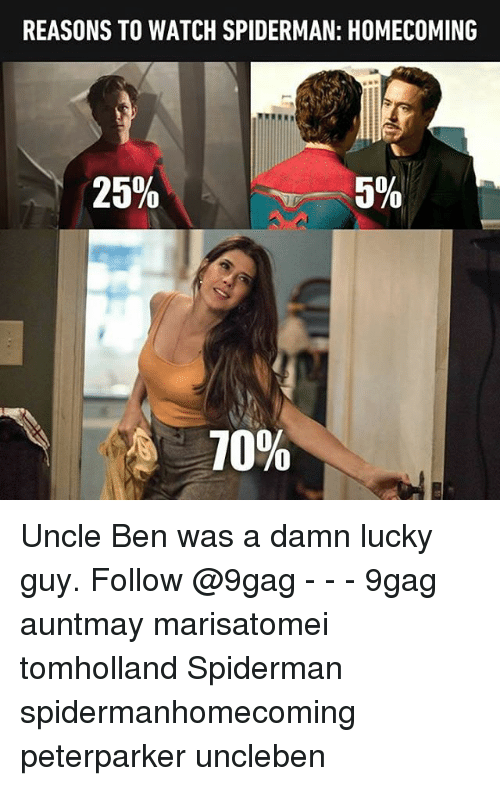 Spidermane: REASONS TO WATCH SPIDERMAN: HOMECOMING  25%  5%  10% Uncle Ben was a damn lucky guy. Follow @9gag - - - 9gag auntmay marisatomei tomholland Spiderman spidermanhomecoming peterparker uncleben