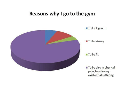 Gym, Good, and Physical: Reasons why I go to the gym  To look good  To be strong  To be fit  To be also in physical  pain, besides my  existential suffering
