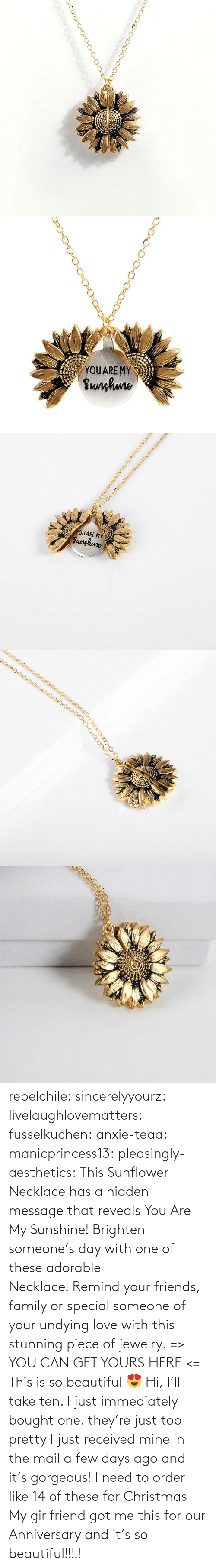 Necklace: rebelchile:  sincerelyyourz:  livelaughlovematters:  fusselkuchen:  anxie-teaa:   manicprincess13:   pleasingly-aesthetics:  This Sunflower Necklace has a hidden message that reveals You Are My Sunshine! Brighten someone's day with one of these adorable Necklace! Remind your friends, family or special someone of your undying love with this stunning piece of jewelry. => YOU CAN GET YOURS HERE <=   This is so beautiful 😍    Hi, I'll take ten.    I just immediately bought one. they're just too pretty   I just received mine in the mail a few days ago and it's gorgeous!   I need to order like 14 of these for Christmas    My girlfriend got me this for our Anniversary and it's so beautiful!!!!!