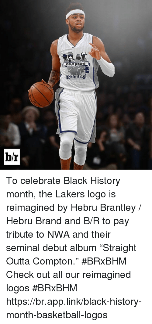 """N.W.A.: REBELS  b/r To celebrate Black History month, the Lakers logo is reimagined by Hebru Brantley / Hebru Brand and B/R to pay tribute to NWA and their seminal debut album """"Straight Outta Compton."""" #BRxBHM  Check out all our reimagined logos #BRxBHM  https://br.app.link/black-history-month-basketball-logos"""