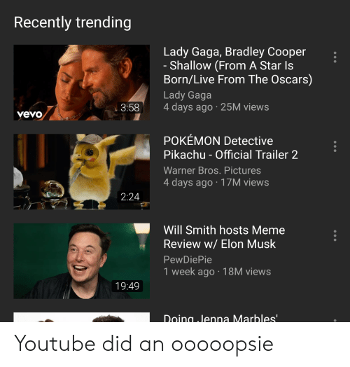 Lady Gaga, Meme, and Oscars: Recently trending  Lady Gaga, Bradley Cooper  - Shallow (From A Star Is  Born/Live From The Oscars)  Lady Gaga  3:58 4 days ago 25M views  vevo  POKEMON Detective  Pikachu - Official Trailer 2  Warner Bros. Pictures  4 days ago 17M views  2:24  Will Smith hosts Meme  Review w/ Elon Musk  PewDiePie  1 week ago 18M views  19:49  Doing ,Jenna Marbles Youtube did an ooooopsie