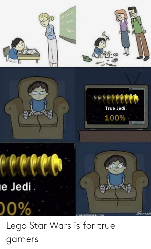 wars: reco  True Jedi.  100%  Ceccco  ie Jedi  00%  SCNUY  SCHRURSTUMAR.COM Lego Star Wars is for true gamers