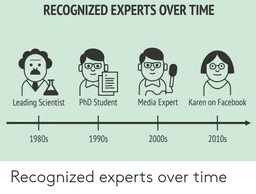 Leading: RECOGNIZED EXPERTS OVER TIME  Leading Scientist  PhD Student  Media Expert  Karen on Facebook  1990s  2000s  2010s  1980s Recognized experts over time
