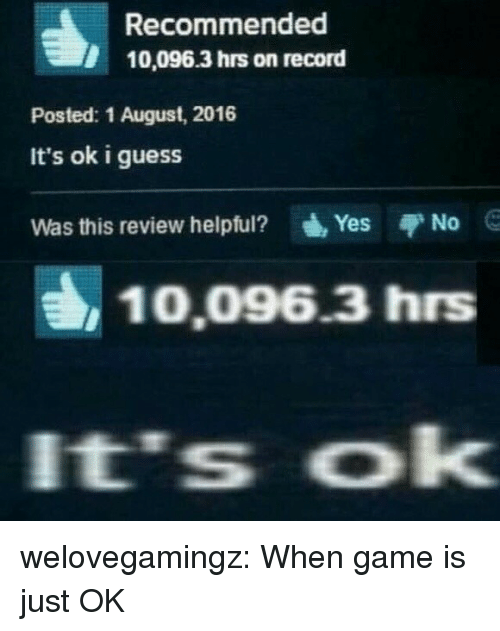 Tumblr, Blog, and Game: Recommended  10,096.3 hrs on record  Posted: 1 August, 2016  It's ok i guess  Was this review helpful?  Yes  No  10,096.3 hrs  It's ok welovegamingz:  When game is just OK