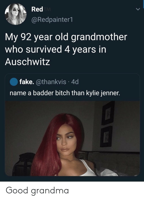 kylie: Red TM  @Redpainter1  My 92 year old grandmother  who survived 4 years in  Auschwitz  fake. @thankvis 4d  name a badder bitch than kylie jenner. Good grandma