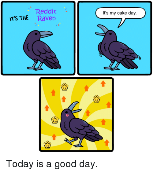 Reddit, Cake, and Good: Reddit  TS THE Raven  It's my cake day. Today is a good day.