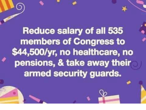 Memes, 🤖, and Congress: Reduce salary of all 535  members of Congress to  $44,500/yr, no healthcare, no  pensions, & take away their  armed security guards.  '