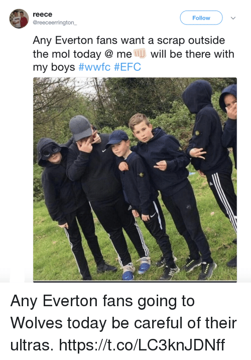 Everton, Memes, and Today: reece  Follow  @reeceerrington  Any Everton fans want a scrap outside  the mol today @ me U will be there with  my boys Any Everton fans going to Wolves today be careful of their ultras. https://t.co/LC3knJDNff
