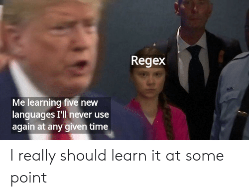 Time, Never, and Regex: Regex  Me learning five new  languages I'll never use  again at any given time I really should learn it at some point