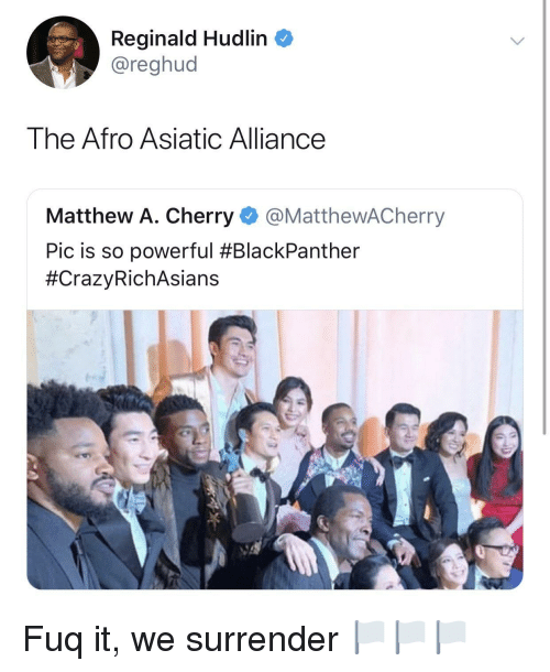 Matthew A: Reginald Hudlin  @reghud  The Afro Asiatic Alliance  Matthew A. Cherry @MatthewACherry  Pic is so powerful Fuq it, we surrender 🏳️🏳️🏳️