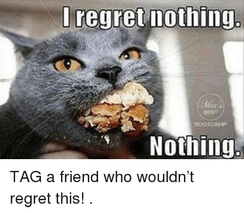 Memes, Regret, and 🤖: regret nothing.  BOOTCAMP  Nothing TAG a friend who wouldn't regret this! .
