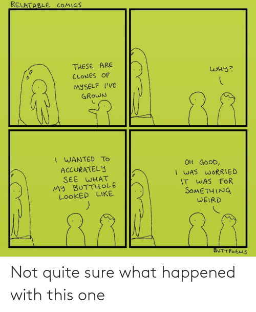 what happened: RELATABLE COMICS  THESE ARE  WHY?  CLONES OF  MYSELF I'VE  88  GROWN  I WANTED TO  ACCURATELY  SEE WHAT  My BUTTHOLE  LOOKED LIKE  OH GOOD,  I WAS WORRIED  IT WAS FOR  SOMETHING  WEIRD  BUTTPOEMS ‪Not quite sure what happened with this one‬