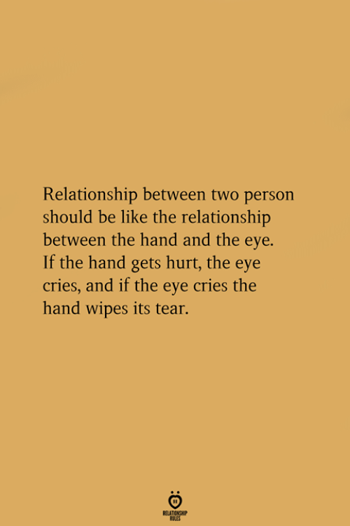 Be Like, Eye, and The Eye: Relationship between two person  should be like the relationship  between the hand and the eye.  If the hand gets hurt, the eye  cries, and if the eye cries the  hand wipes its tear.