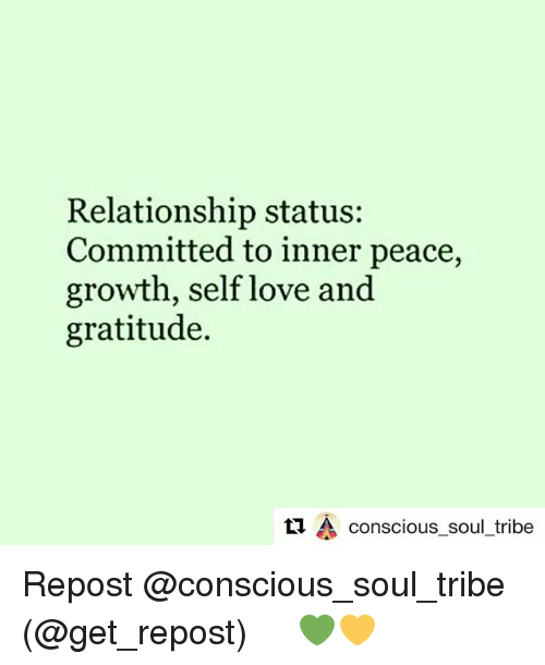 relationship status committed to inner peace growth self love and