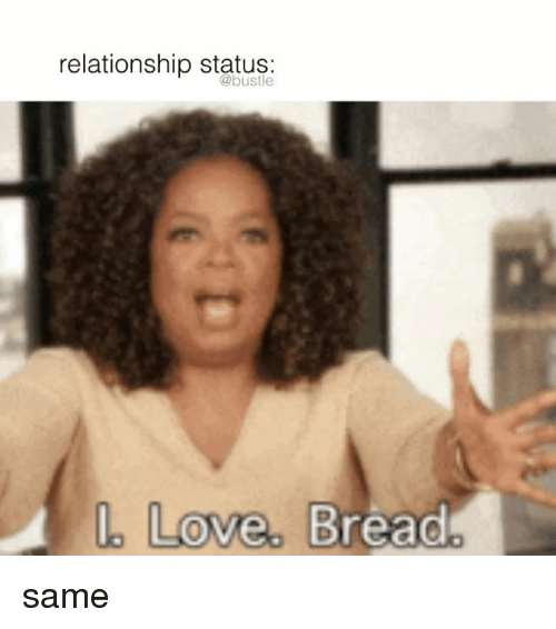 Love, Memes, and Relationship Status: relationship status:  Love. Bread same