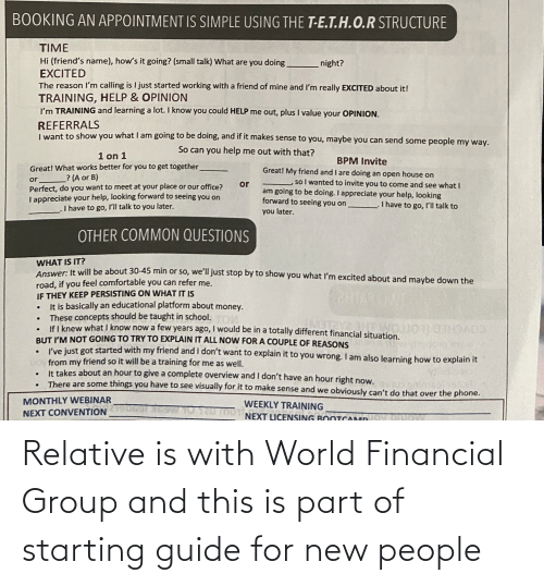 New People: Relative is with World Financial Group and this is part of starting guide for new people