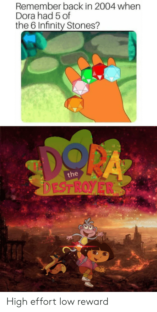 Dora, Infinity, and Back: Remember back in 2004 when  Dora had 5 of  the 6 Infinity Stones?  the  u/littymati High effort low reward