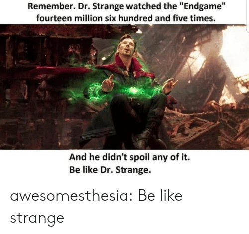 """Be Like, Tumblr, and Blog: Remember. Dr. Strange watched the """"Endgame""""  fourteen million six hundred and five times.  And he didn't spoil any of it.  Be like Dr. Strange. awesomesthesia:  Be like strange"""