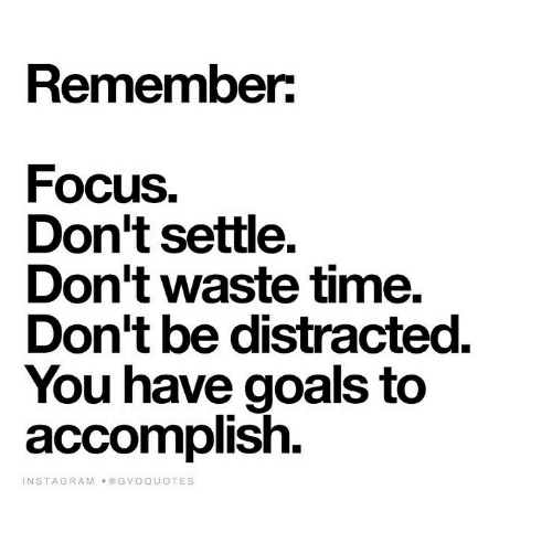 Goals, Instagram, and Focus: Remember  Focus,  Don't settle.  Don't Waste time.  Don't be distracted.  You have goals to  accomplish  INSTAGRAM  ●@GVOQUOTES