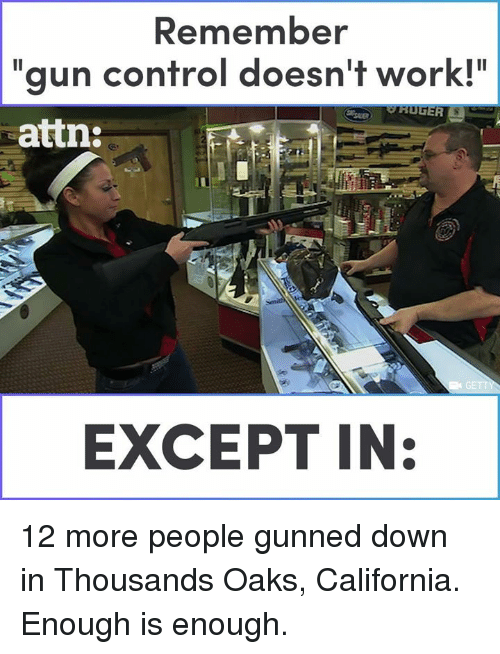 "Memes, Control, and Work: Remember  ""gun control doesn't work!""  attn  EXCEPT IN: 12 more people gunned down in Thousands Oaks, California. Enough is enough."