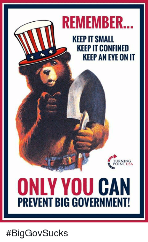 Big Government: REMEMBER.  KEEP IT SMALL  KEEP IT CONFINED  KEEP AN EYE ON IT  RNING  INT USA  ONLY YOU CAN  PREVENT BIG GOVERNMENT! #BigGovSucks
