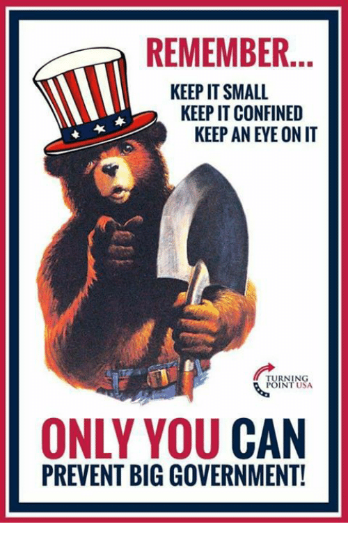 Memes, Government, and Big Government: REMEMBER.  KEEP IT SMALL  KEEP IT CONFINED  KEEP AN EYE ON IT  UININSA  RNING  POINT USA  34  ONLY YOU CAN  PREVENT BIG GOVERNMENT!