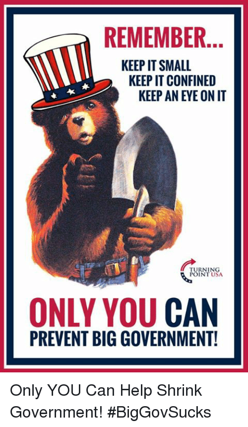 Big Government: REMEMBER.  KEEP IT SMALL  KEEP IT CONFINED  KEEP AN EYE ON IT  RNING  INT USA  ONLY YOU CAN  PREVENT BIG GOVERNMENT! Only YOU Can Help Shrink Government! #BigGovSucks