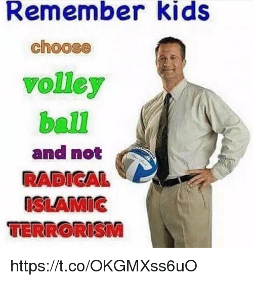 Memes, Kids, and Terrorism: Remember kids  choose  volley  ball  and not  RADICAL  ISLAMIG  TERRORISM https://t.co/OKGMXss6uO