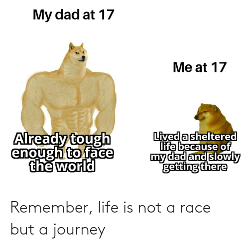 remember: Remember, life is not a race but a journey