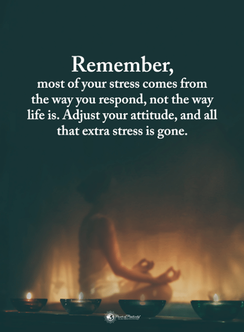 Life, Memes, and All That: Remember  most of your stress comes from  the way you respond, not the way  life is. Adjust your attitude, and all  that extra stress is gone.
