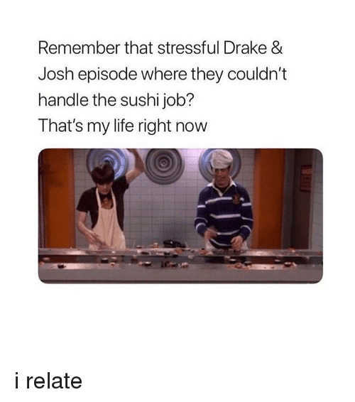 Drake, Drake & Josh, and Life: Remember that stressful Drake &  Josh episode where they couldn't  handle the sushi job?  That's my life right now i relate