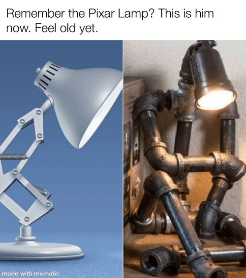 lamp: Remember the Pixar Lamp? This is him  now. Feel old yet.  made with mematic