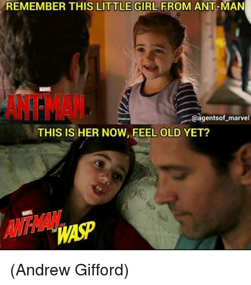 Memes, Antman, and Girl: REMEMBER THIS LITTLE GIRL FROM ANT-MAN  MARYE  ANTMAN  @agentsof-marvel  THIS IS HER NOW, FEEL OLD YET? (Andrew Gifford)