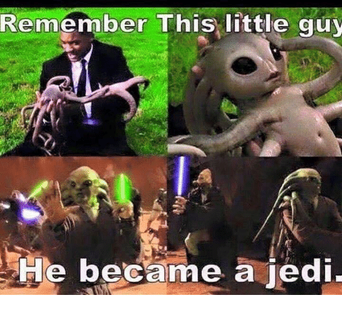 Jedi, Remember, and This: Remember This little guy  He became a jedi