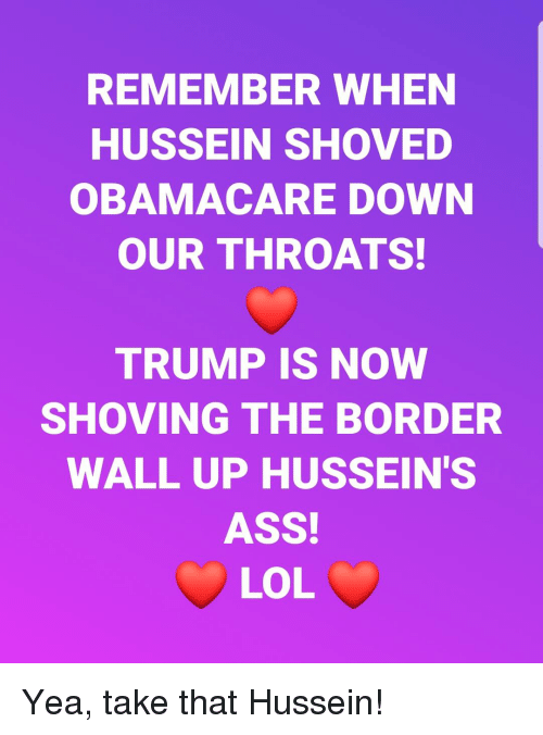Ass, Lol, and Obamacare: REMEMBER WHEN  HUSSEIN SHOVED  OBAMACARE DOWN  OUR THROATS!  TRUMP IS NOW  SHOVING THE BORDER  WALL UP HUSSEIN'S  ASS!  LOL