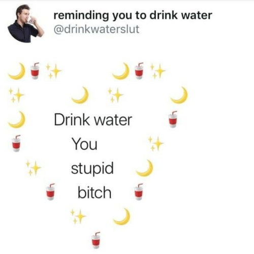 drink water: reminding you to drink water  @drinkwaterslut  Drink water  You  stupid  bitch