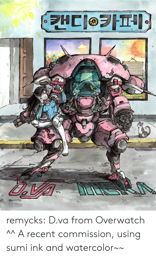 Tumblr, Blog, and Http: remycks: D.va from Overwatch ^^ A recent commission, using sumi ink and watercolor~~