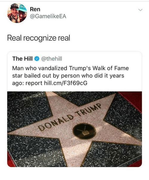 Bailed: Ren  @GamelikeEA  Real recognize real  The Hill @thehill  Man who vandalized Trump's Walk of Fame  star bailed out by person who did it years  ago: report hill.cm/F3f69cG